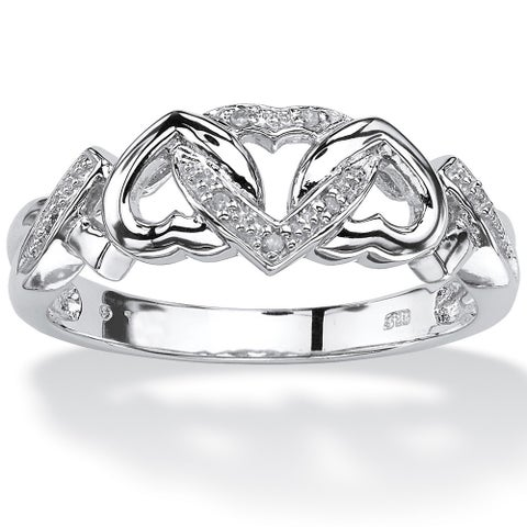 Platinum over Sterling Silver Diamond Accent Interlocking Hearts Promise Ring