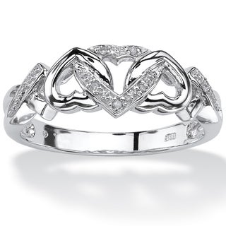 Platinum over Sterling Silver Diamond Accent Interlocking Hearts Promise Ring (More options available)