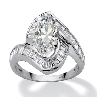 PalmBeach 4.93 TCW Marquise-Cut Cubic Zirconia Platinum over Sterling Silver Channel-Set Ring Glam CZ
