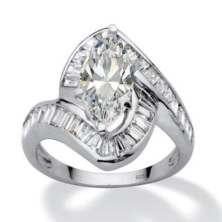 4.93 TCW Marquise-Cut Cubic Zirconia Platinum over Sterling Silver Channel-Set Ring Glam C