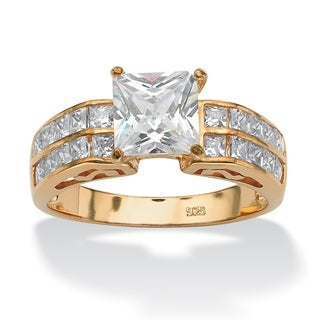 2.42 TCW Princess-Cut Cubic Zirconia Engagement Anniversary Ring in 18k Gold over Sterling