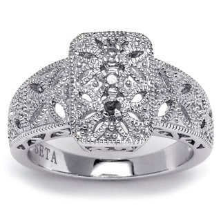 Ultimate CZ Platinum  over Sterling Silver Diamond Accent Filigree Ring