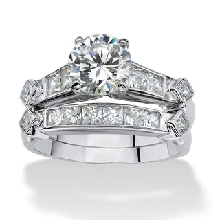 PalmBeach 2 Piece 3.14 TCW Round Cubic Zirconia Bridal Ring Set in Platinum over Sterling Silver Cla