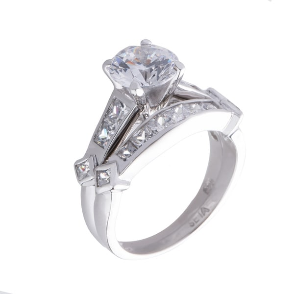 2 Piece 3.14 TCW Round Cubic Zirconia Bridal Ring Set in Platinum over Sterling Silver Cla - Clear/Silver