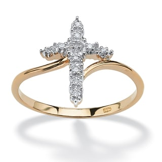 Diamond Accent Cross Ring in 18k Gold over Sterling Silver