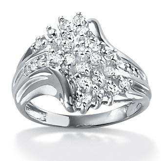 PalmBeach Platinum over Silver 1/10ct TDW Diamond Ring (G-H, I2-I3)