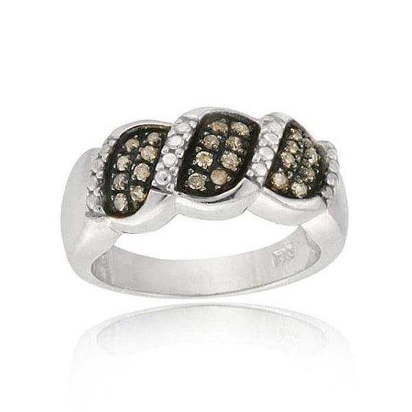 DB Designs Sterling Silver 1/4ct TDW Brown Diamond Ring