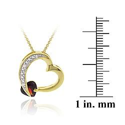 Glitzy Rocks 18k Gold over Sterling Silver Garnet and Diamond Accent Necklace - Thumbnail 2