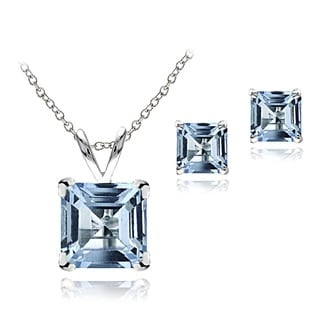 Glitzy Rocks Sterling Silver Blue Topaz Square Earring and Necklace Set