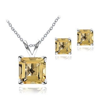 Glitzy Rocks Sterling Silver Citrine Solitaire Square Earring and Necklace Set