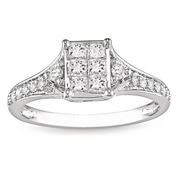Miadora 10k White Gold 1/2ct TDW Diamond Engagement Ring (G-H, I1-I2)