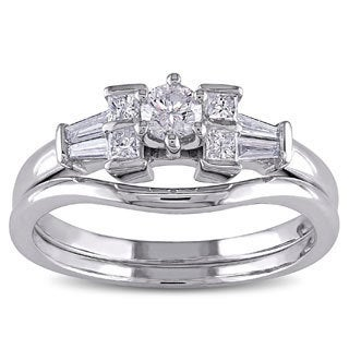 Miadora 10k White Gold 1/2ct TDW Diamond Bridal Ring Set