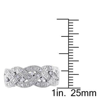 Miadora Sterling Silver 1/8ct TDW Diamond Braided Ring (H-I, I2-I3)