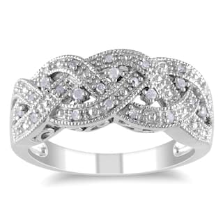 Miadora Sterling Silver 1 8ct Tdw Diamond Braided Ring More Options Available