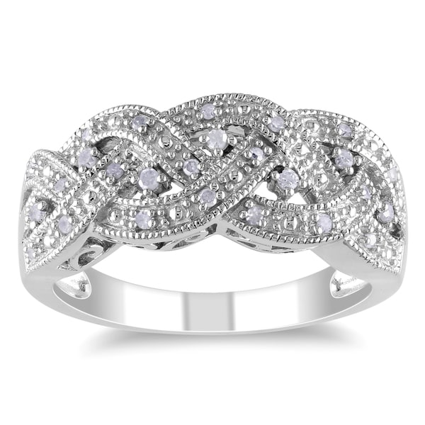 Miadora Sterling Silver 1/8ct TDW Diamond Braided Ring