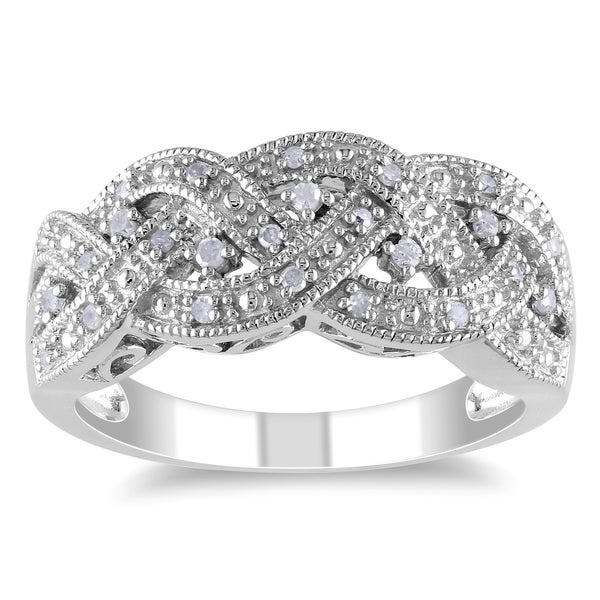 Miadora Sterling Silver 1/8ct TDW Braided Diamond Ring