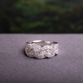 Sterling Silver 1/8ct TDW Braided Diamond Ring by Miadora