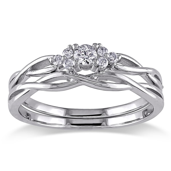 10k White Gold 1/6ct TDW Diamond Infinity Cluster Bridal Ring Set by Miadora