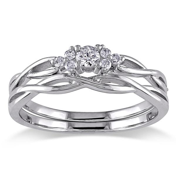 10k White Gold 1/6ct TDW Diamond Infinity Cluster Bridal Ring Set by Miadora