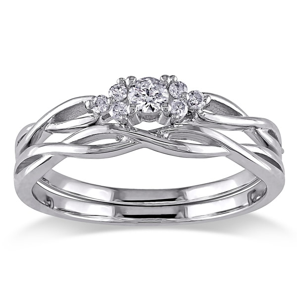 Miadora 10k White Gold Braided Diamond Bridal Ring Set