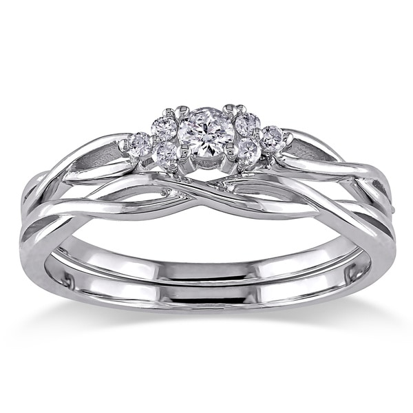 Miadora 10k White Gold Braided Diamond Bridal Ring Set GH I2I3