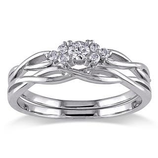 miadora 10k white gold braided diamond bridal ring set g h i2 i3 - Engagement Wedding Ring Set