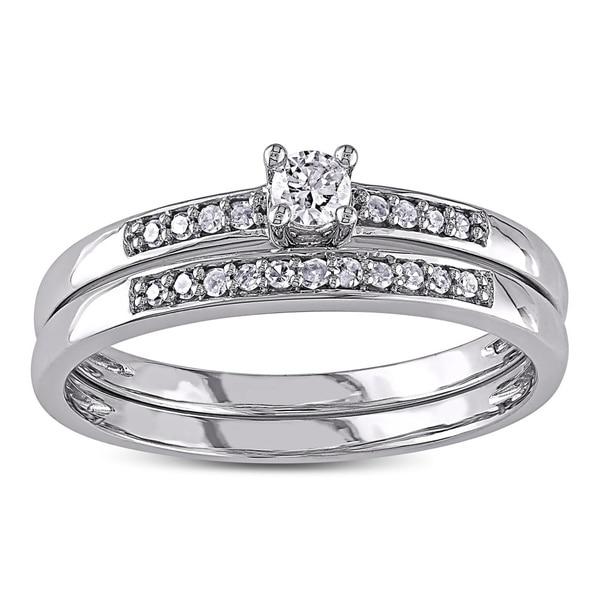 Miadora 10k White Gold 1/5ct TDW Diamond Bridal Set (G-H, I2-I3)