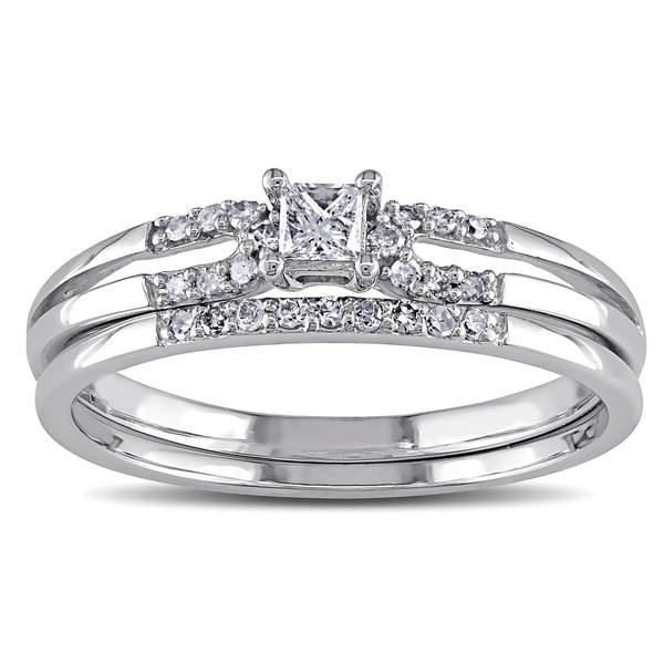 Miadora 10k White Gold 1/5ct TDW Diamond Bridal Ring Set