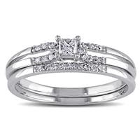 Miadora 10k White Gold 1/5ct TDW Diamond Bridal Ring Set