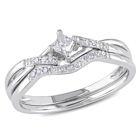 Miadora 10k White Gold 1/5ct TDW Diamond Bridal Set