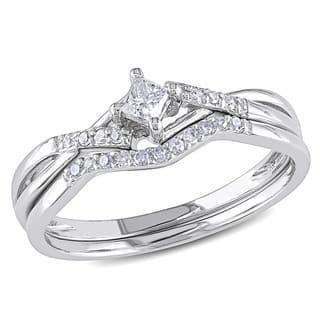 Miadora 10k White Gold 1/5ct TDW Diamond Bridal Set (G-H, I2-I3)|https://ak1.ostkcdn.com/images/products/5327909/P13133209.jpg?impolicy=medium