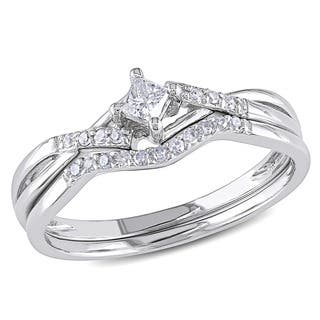miadora 10k white gold 15ct tdw diamond bridal set g h i2 - Cross Wedding Rings