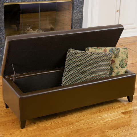 York Bonded Leather Brown Storage Ottoman Bench by Christopher Knight Home
