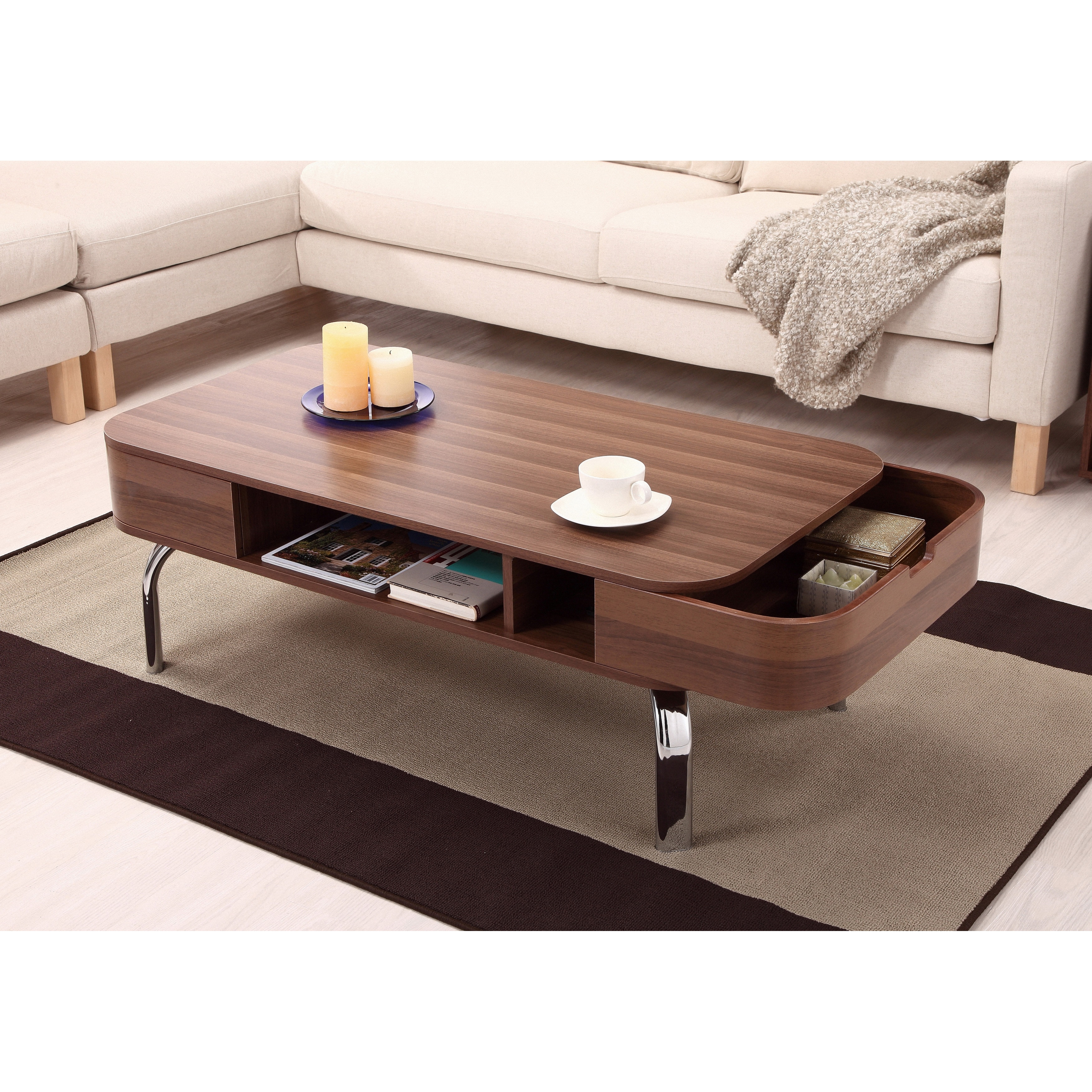 Modern Brown Walnut Wood Coffee Table With Storage Side Drawers For Living Room