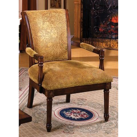 Furniture of America Antique Oak Wood Accent Chair