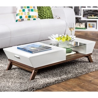 Furniture of America Kress Glass Insert Coffee Table