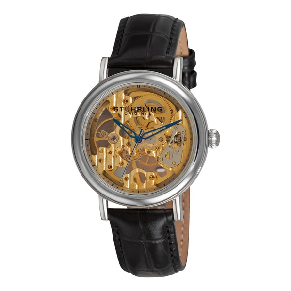 Stuhrling Original Women's Lady Montague Skeleton Mechanical Watch with Leather Band
