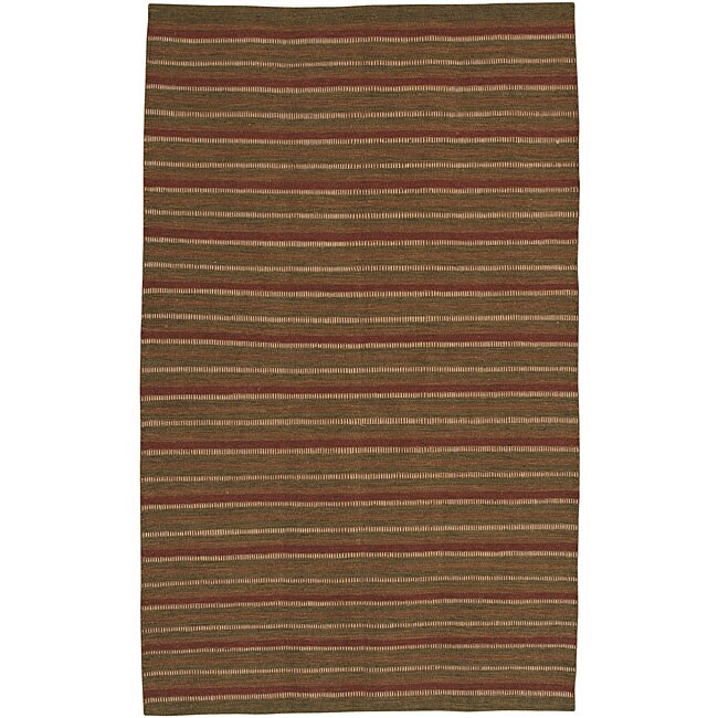 Hand-woven Multi Colored Stripe Casual Autumn Wool Rug (8' x 11')