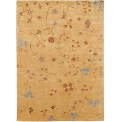 Hand-knotted Tan Floral Semi-Worsted New Zealand Wool Rug (8' x 11')