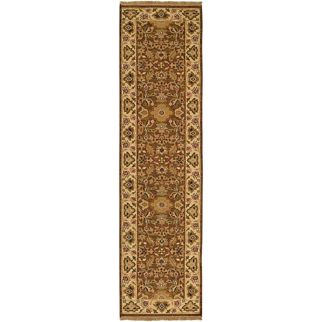 Hand-knotted Sangli Brown Wool Rug (2'6 x 10')