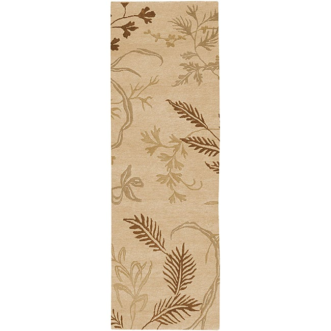 Hand-knotted Fossil Beige Wool Area Rug - 2'6 x 10'