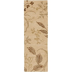 Hand-knotted Fossil Beige Wool Rug (2'6 x 10')