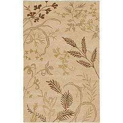 Hand-knotted Fossil Beige Wool Rug (5' x 8')