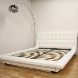 Celia White Bonded Leather Queen Platform Bed