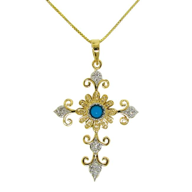 14k Goldplated and Silver Turquoise and Cubic Zirconia Cross Necklace