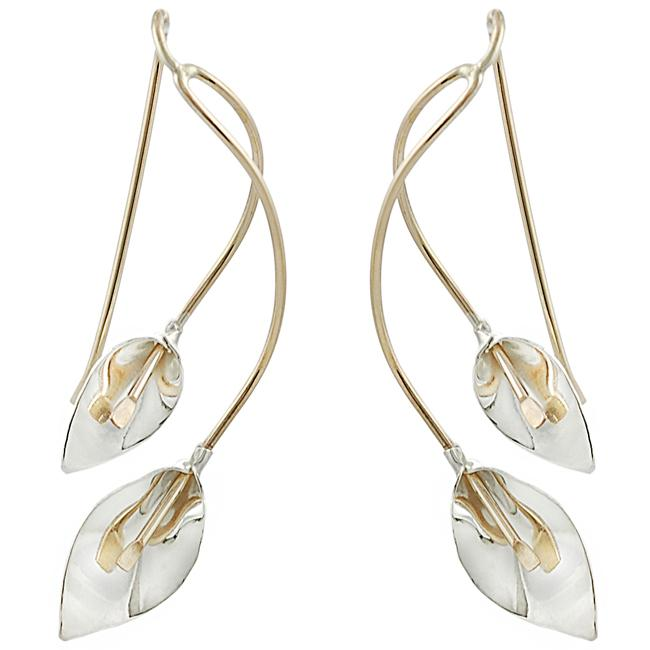 Journee Collection  Goldfill and Sterling Silver Calla Lily Earrings