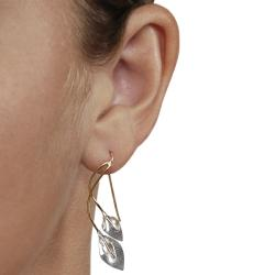 Journee Collection  Goldfill and Sterling Silver Calla Lily Earrings - Thumbnail 2