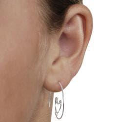 Journee Sterling Silver Heart Spiral Earrings - Thumbnail 2