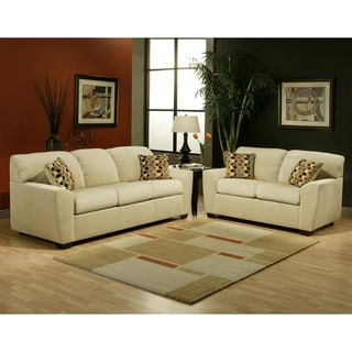 Furniture of America Boxer Micro Velvet Wheat 2-piece Sofa Set