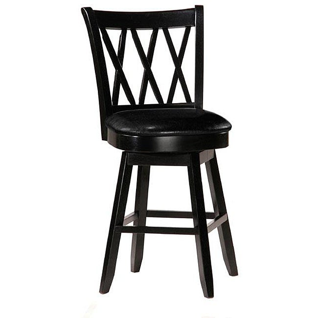 Shop Jasna Wood Black Leather Counter Height Stool Free
